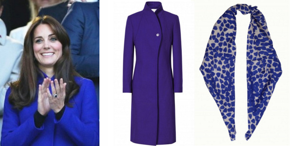 Catherine, Duchess of Cambridge Wore Blue Reiss Emilie Coat together with Beulah London Shibani Scarf