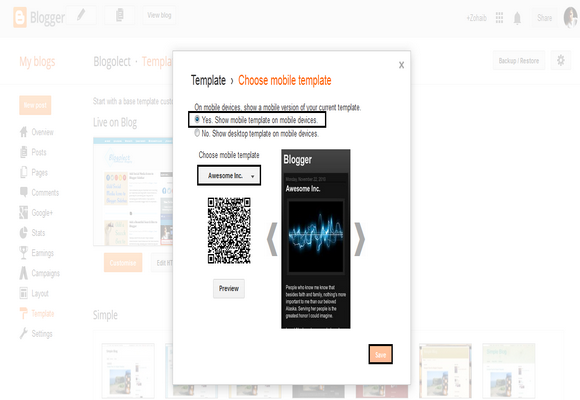 Enable or Disable Mobile Template of your Blogger Blog
