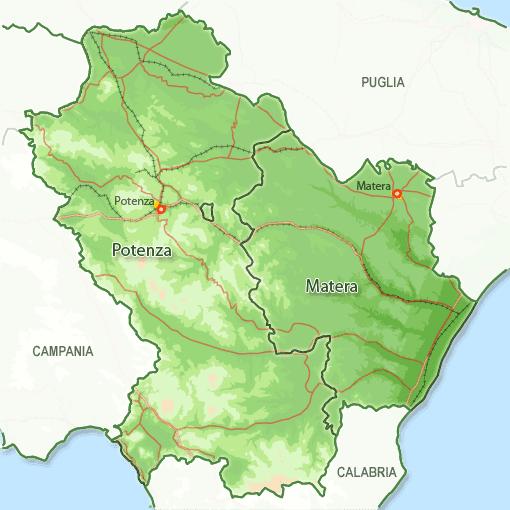 Basilicata Map Political Regions Italy Map Geographic Region