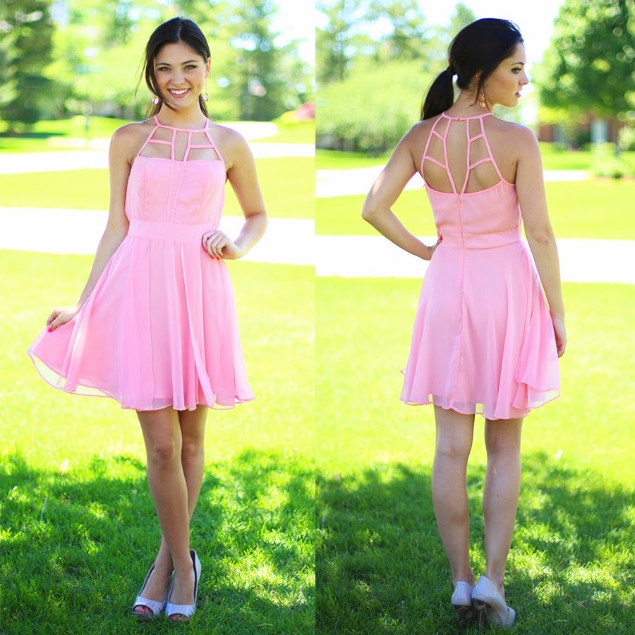 Pink Cut Out Chiffon Summer Dress