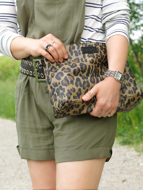 styling olive shortalls with a striped henley top and accessories