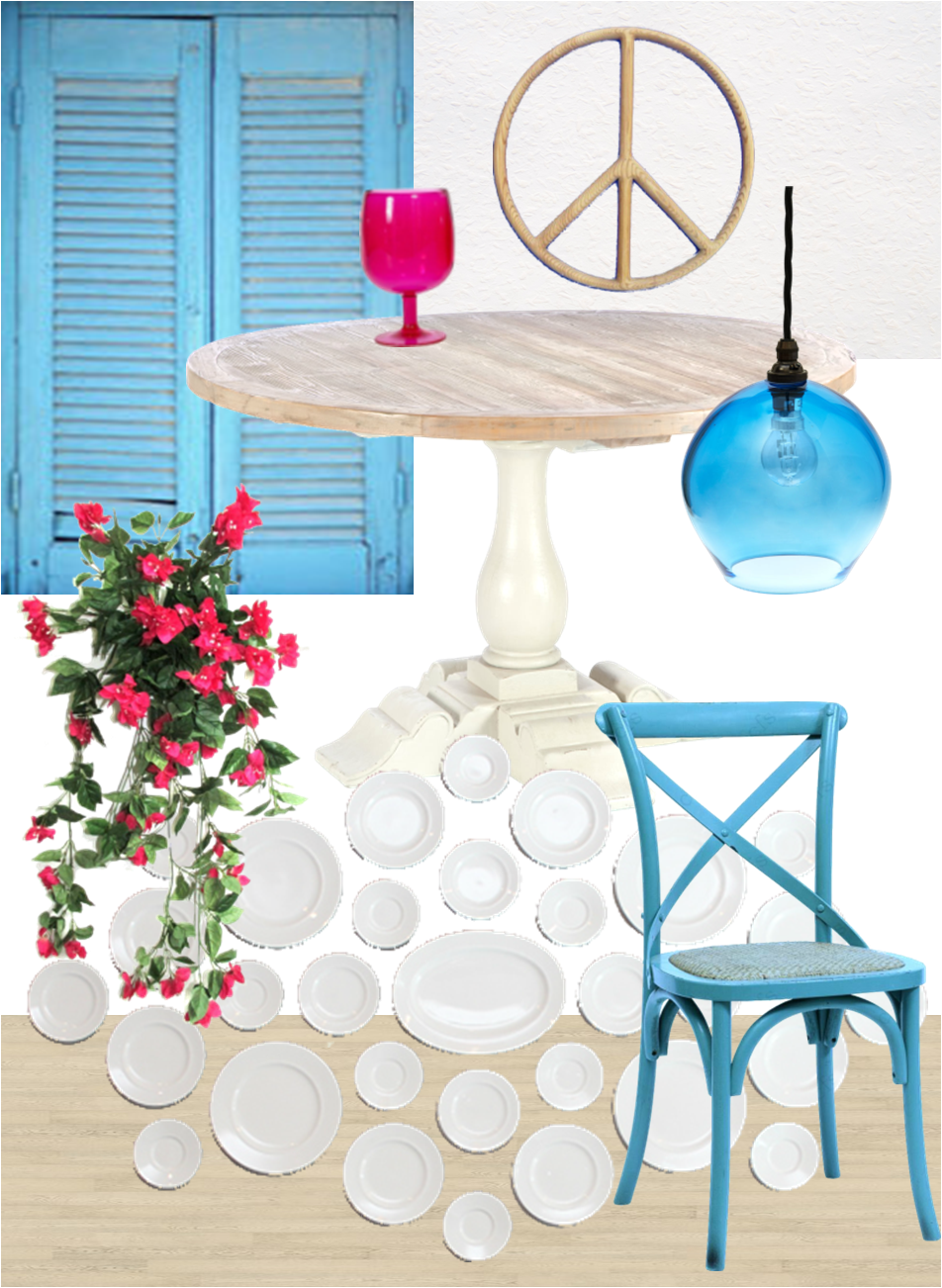 santorini inspired moodboard - greece - white - blue - decor