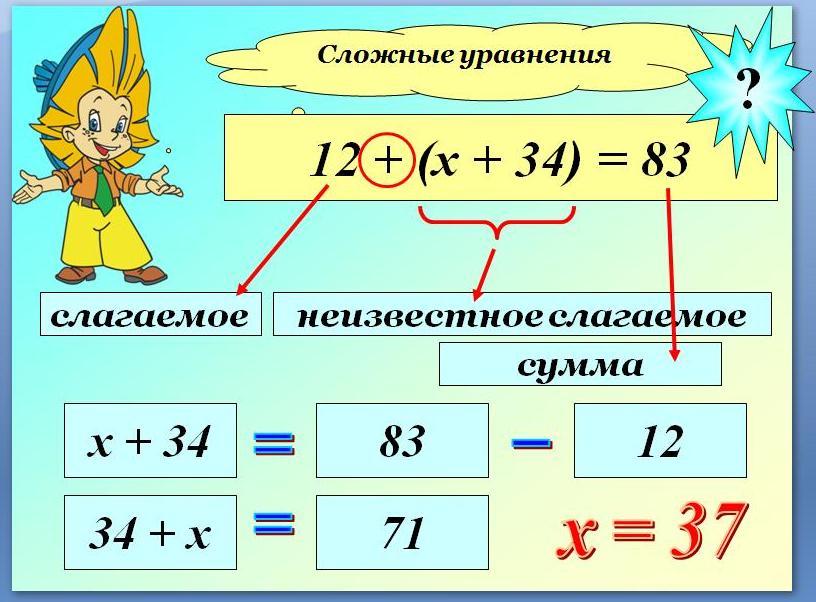 Как решать сложные уравнения 4 класс решебник