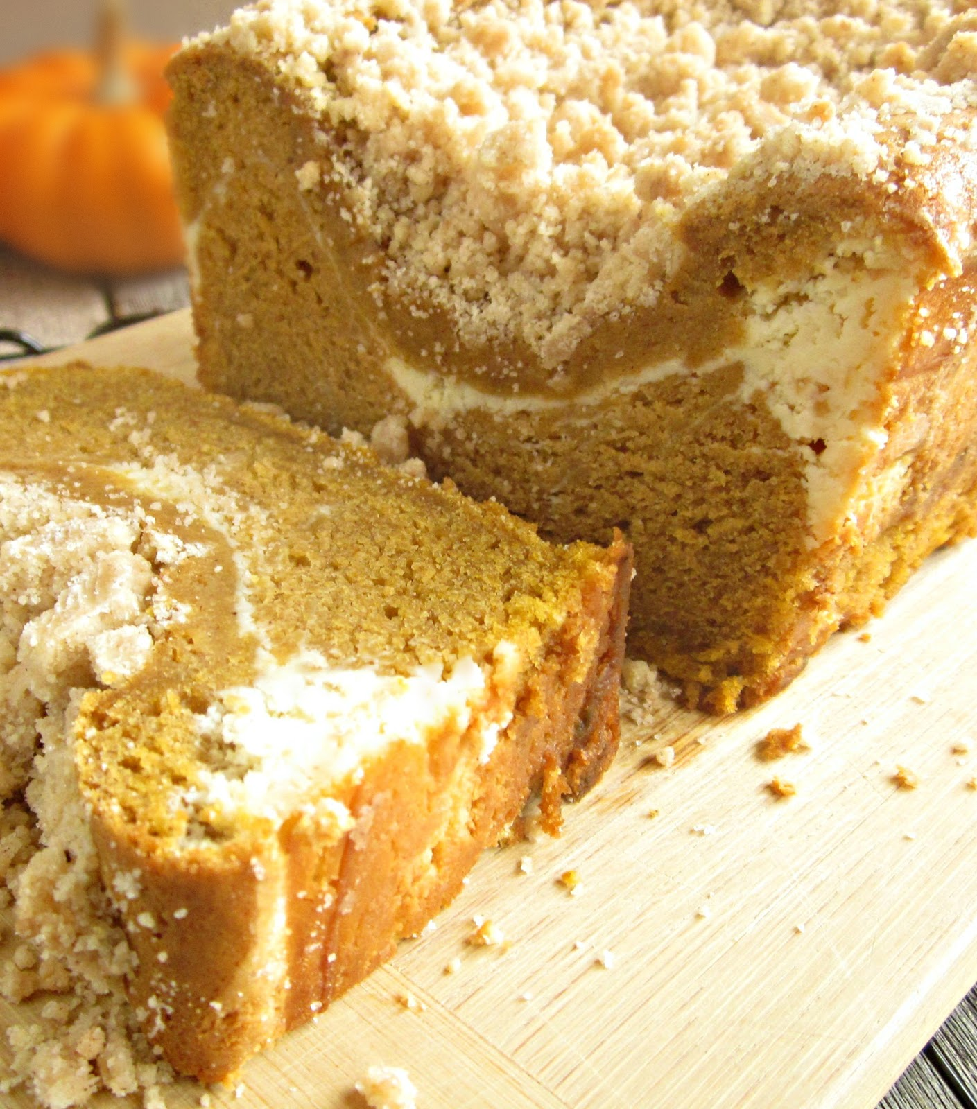 Hungry Couple: Pumpkin Streusel Bread with Cream Cheese Swirl