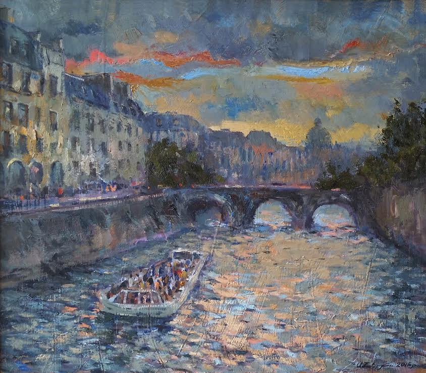 Seine, Paris, 2015, oil on cardboard, 50x60cm Price 700$