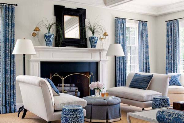 Blue yellow green and red living room design ideas for Black white and blue living room ideas