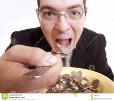 trabalhador comendo dinheiro