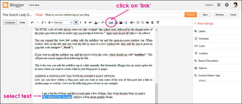 nofollow tag on blogger