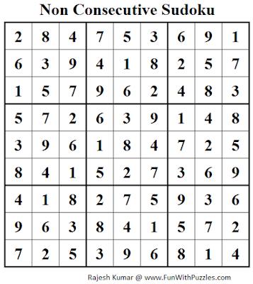 Non Consecutive Sudoku (Fun With Sudoku #72) Solution