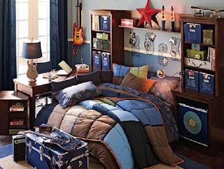 dormitorio azul para adolescentes