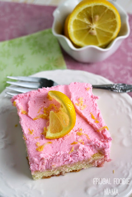 Pink Lemonade Tiramisu- a bright, lemony ladyfinger cake is frosted with a light & fluffy lemon mascarpone topping. A summery makeover of a classic Italian dessert. #AllstateSilverLining