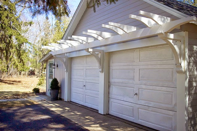 Here's some of the other stuff we've done to spruce up the exterior over  the past year or so: Painted the service door · Had the garage painted - The Impatient Gardener: HOW TO BUILD A GARAGE PERGOLA