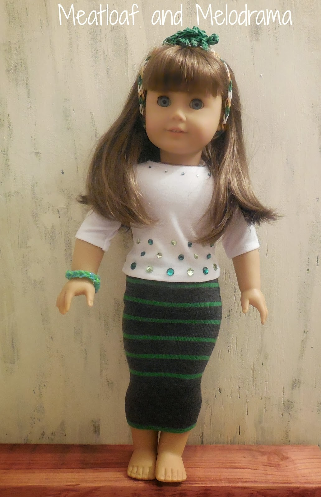 new sew doll clothes, sock, rainbow loom