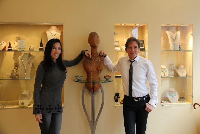 Jewellery Designer Eric Van Peterson and his wife at his jewellery shop