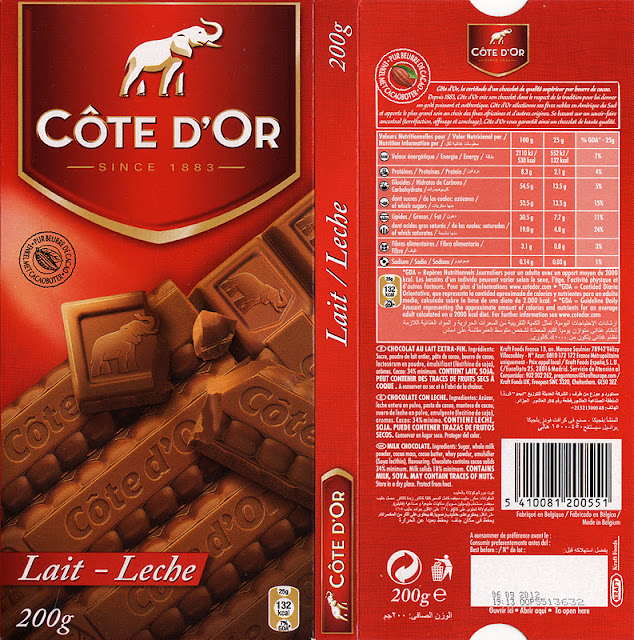 tablette de chocolat lait dégustation côte d'or lait