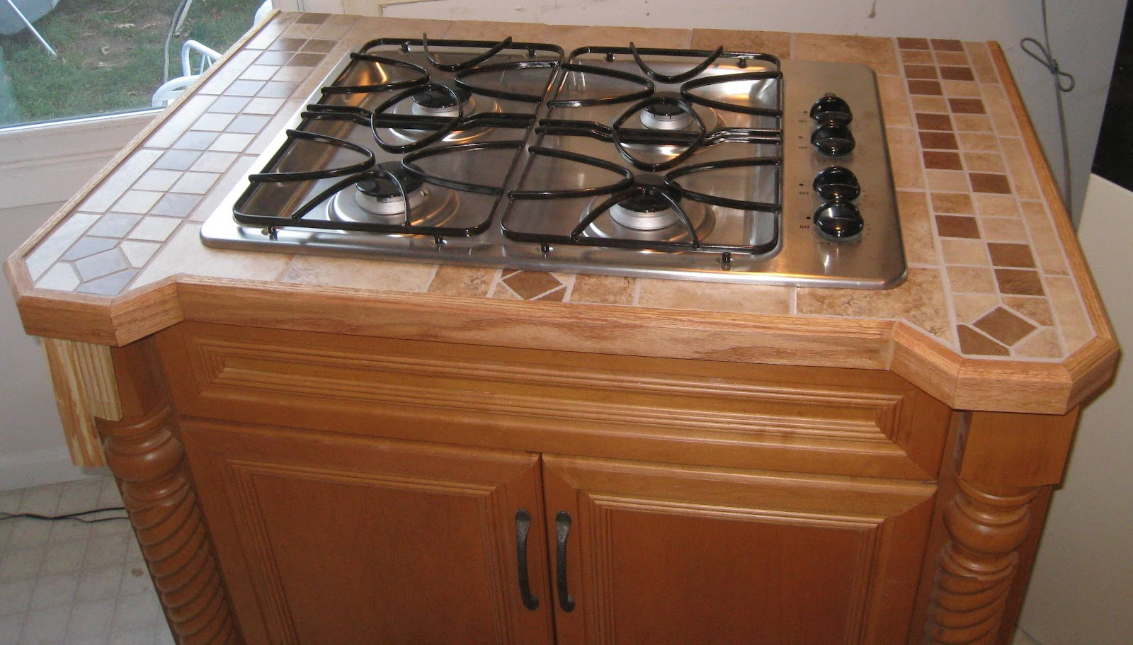 ... countertop. He installed our new gas stove in one of our new cabinets