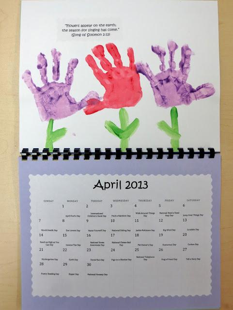 April Handprint Calendar : Princesses pies preschool pizzazz bible verse