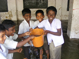 Smiling boys after a flood in Chennai