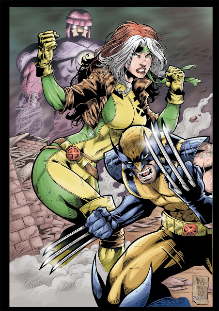 Sentinel, Rogue & Wolverine by Pencil: Marcio Abreu -   Ink + Color: John Castelhano