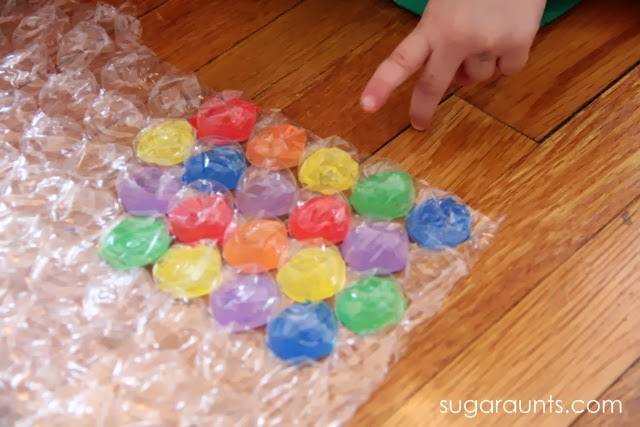 """Kids will love to play """"Twister"""" in this fine motor exercise."""