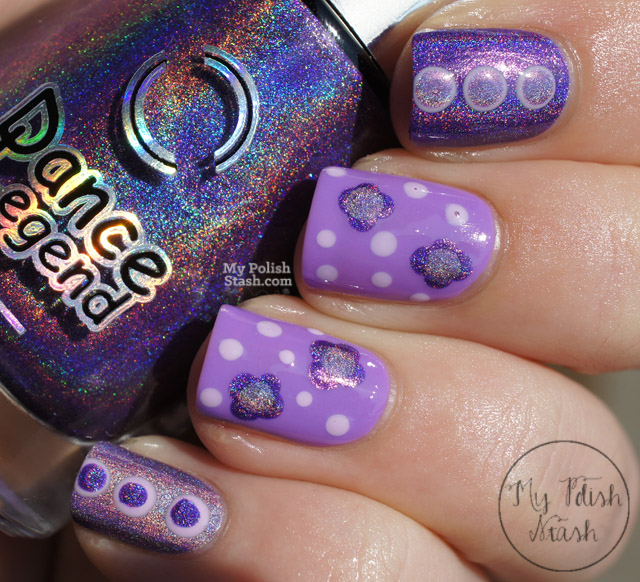 purple dotted nail design