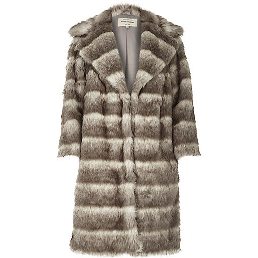 grey stripe fur coat, river island grey fur coat,