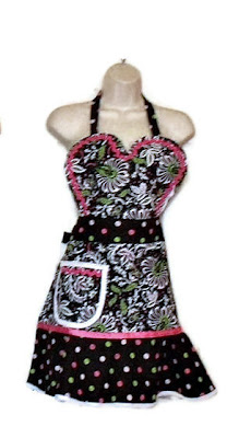 HeartnSow Designs Heart Apron Polka Dot Pink White Black Hostess Retro Chic