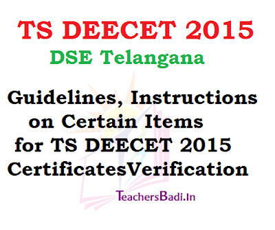 TS DEECET 2015, Certificates Verification,Guidelines