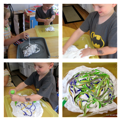 collage of pictures showing how to paint with shaving cream