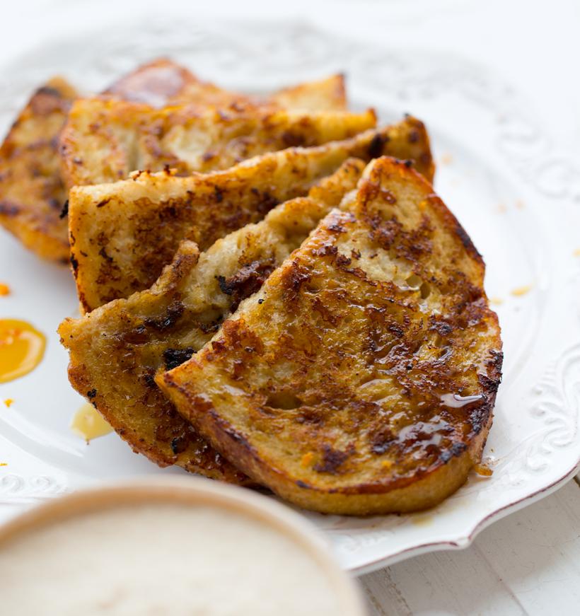 Vegan Eggnog Latte French Toast