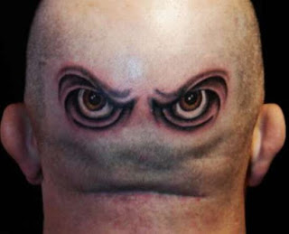 Eyes tattoo Design on back of the head