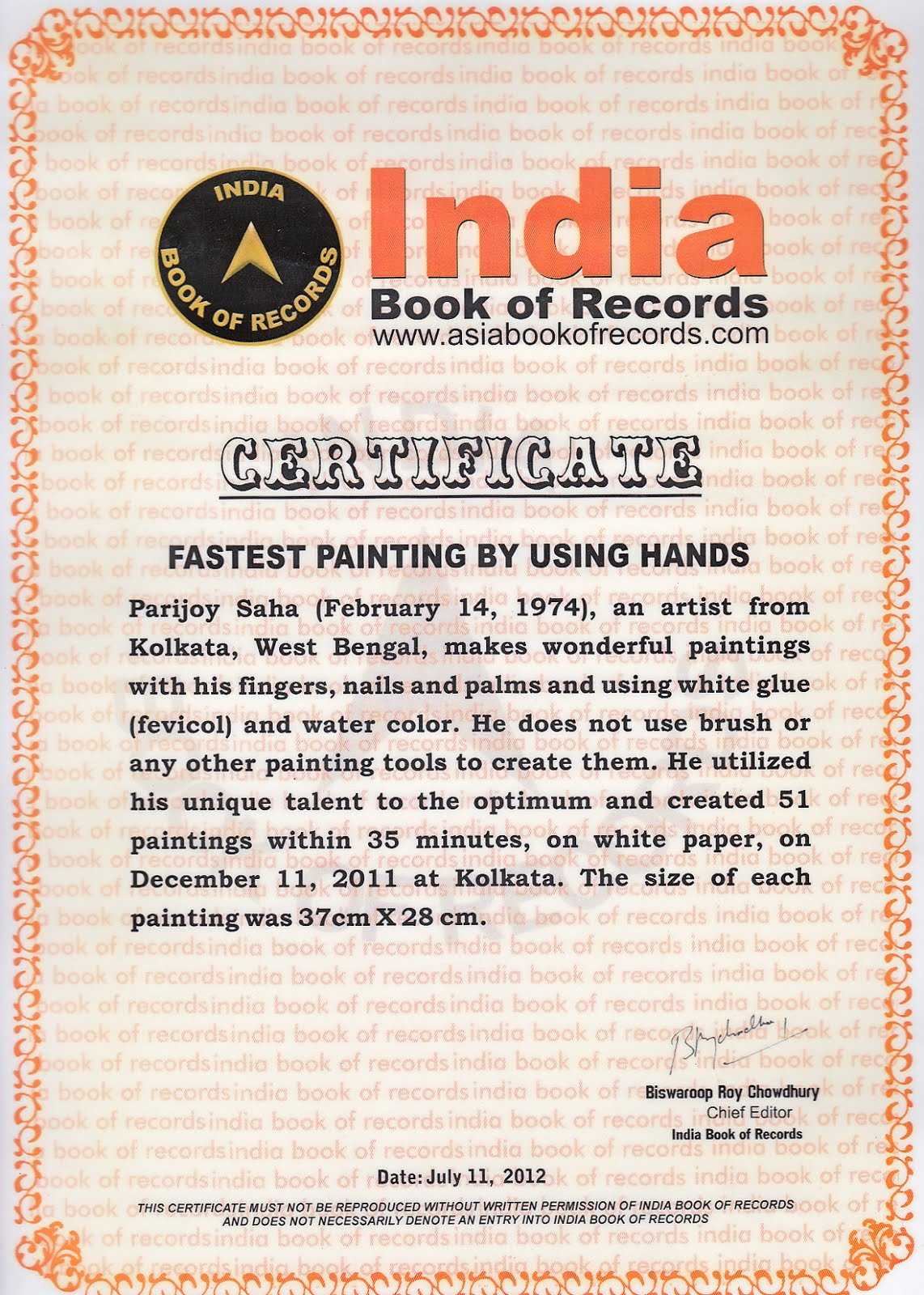 Fastest time to create 51 paintings with bare hands