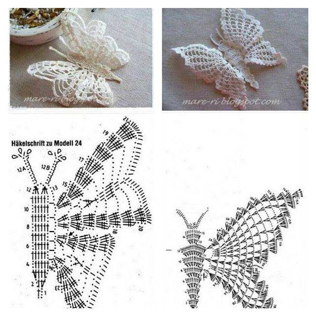Molto Con i gomitoli di Tommy: Farfalla tridimensionale all'uncinetto YK08