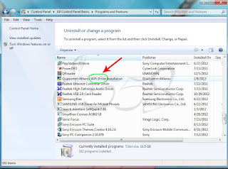 Uninstall program / software pada notebook Windows 7