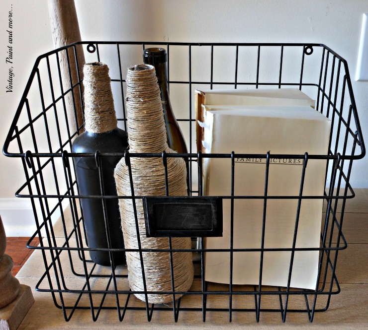 Vintage, Paint and more... wire basket with twine wrapped bottle, chalk painted bottle and old books sans covers