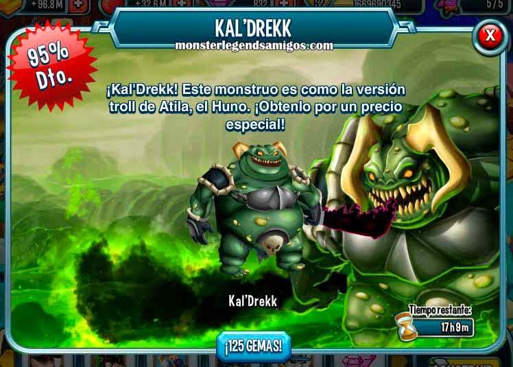 imagen de la oferta especial del monstruo kal drekk de monster legends