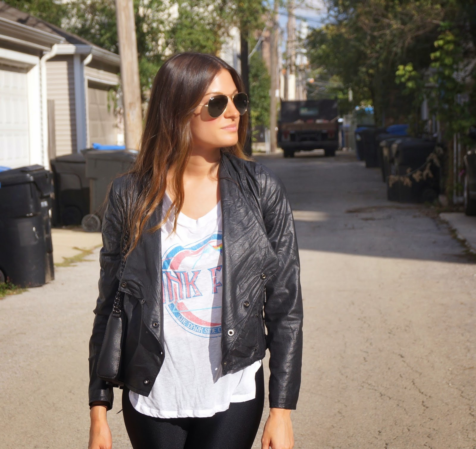 graphic tee + leather jacket