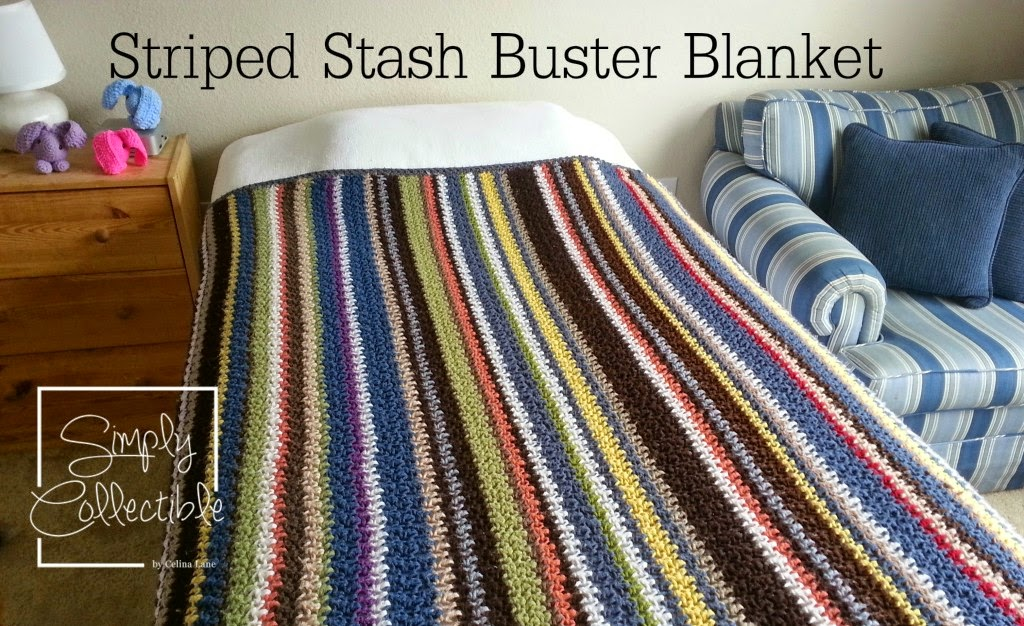 Crochet Striped Stash Buster Afghan