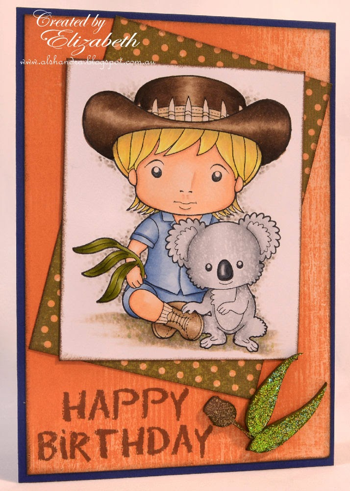 Elizabeth Whisson, La-La Land Crafts, Koala Luka, Copics, Copic sketch, Copic markers, Happy Birthday, handmade card, The Dusty Attic, X-Press It, AnnaBelle stamps