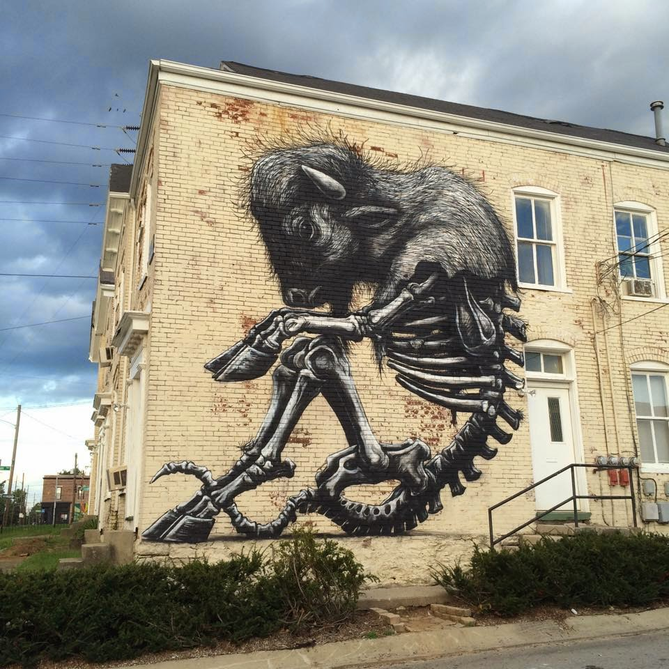 Roa creates a new mural for prhbtn in lexington kentucky for Call for mural artists 2014