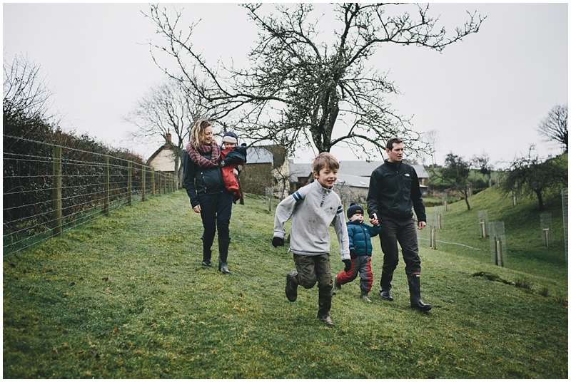 A family exploring a farm