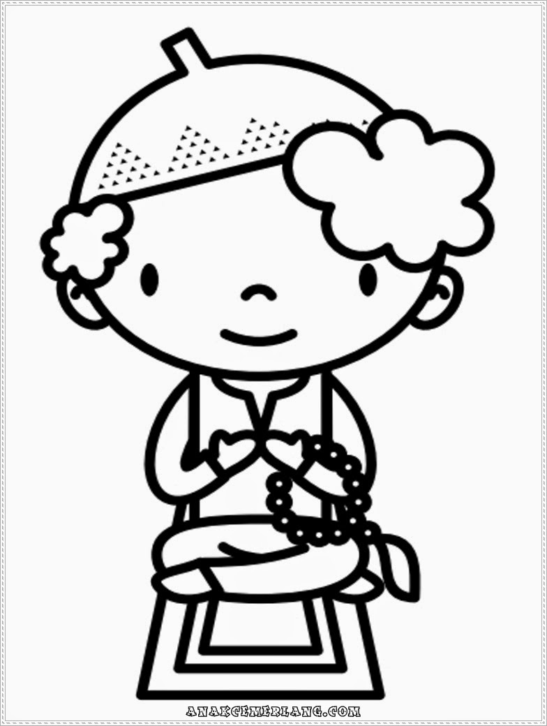 mewarnai gambar anak soleh berzikir dan berdoa selepas solat