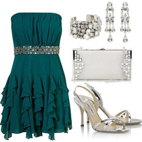 Dark blue gown, Silver purse, high heel sandals and ear rings for ladies
