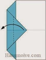 Bước 4: Gấp góc giấy sang trái.