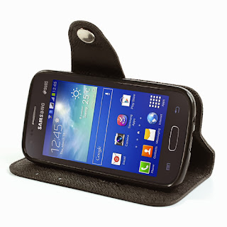 Leather Case Wallet with Stand and Card Slot Samsung Galaxy Ace 3 S7275 S7270 S7272 - Black