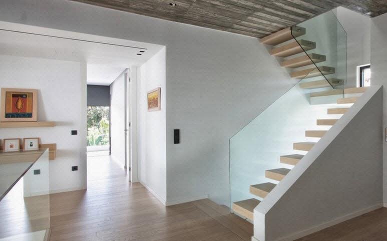 diseo de escaleras modernas y pasamanos de vidrio