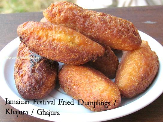 Jamaican Festival Fried Dumplings /  Khajura / Ghajura