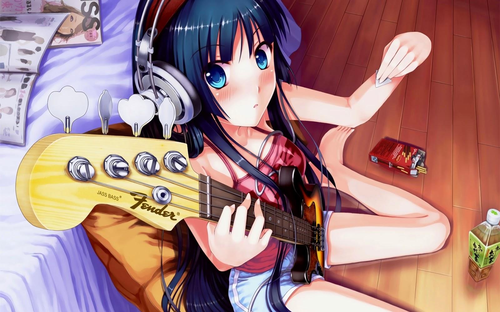 Gambar animasi kartun jepang cewek pakai gitar