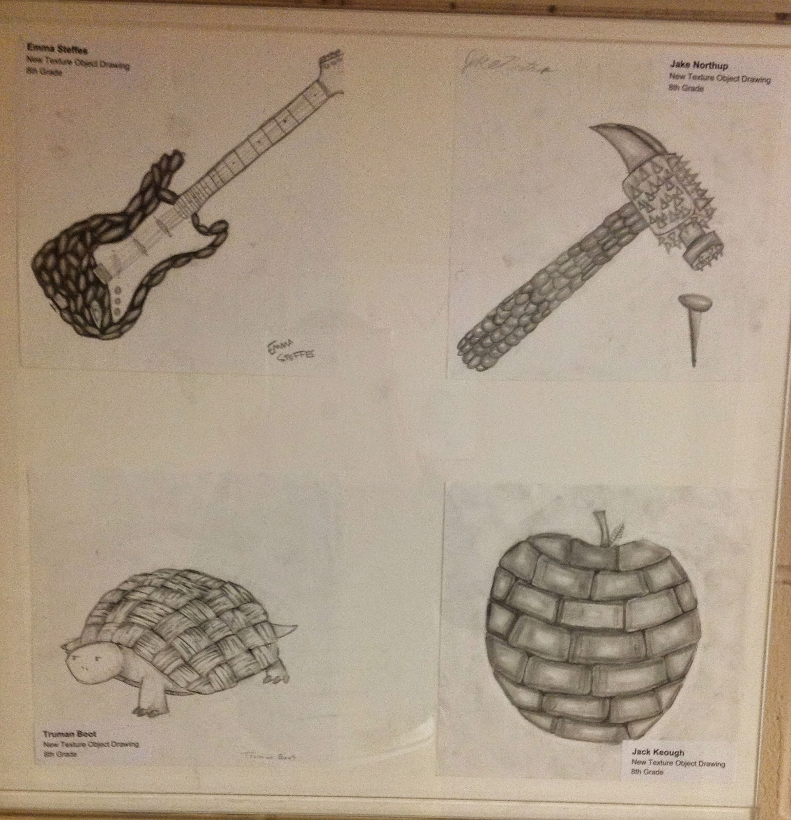8th Grade Texture Remix Real Object Drawing