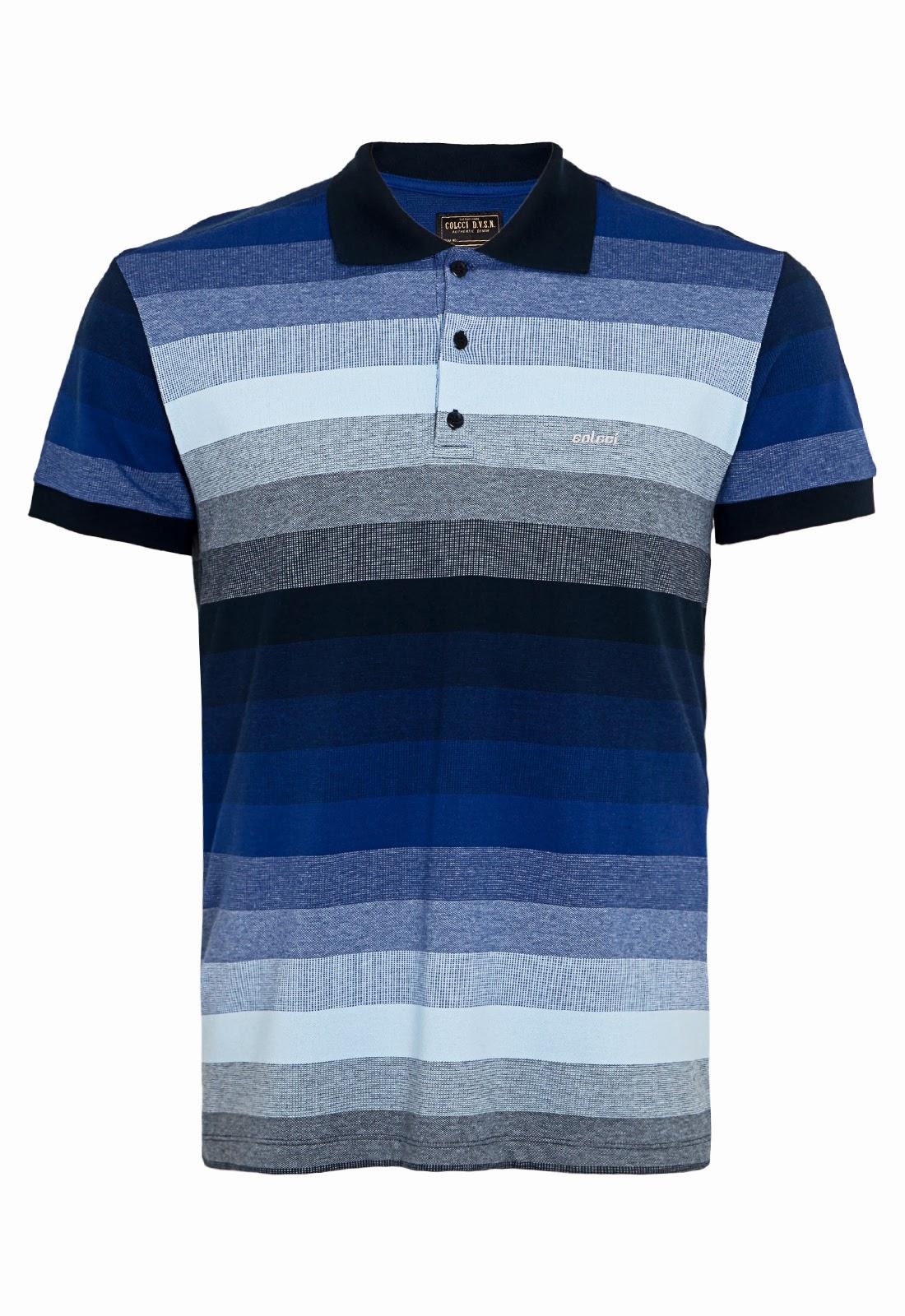 NOVIDADES DAFITI  Camisa Polo Colcci Brasil Trusted listrada em tons de azul.  click no link abaixo e veja muito mais. 756a3f6d7aa9a